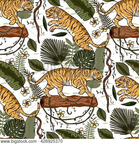 Jungle Tiger Exotic Tropical Seamless Pattern. Animal Floral Nature Fabric Illustration. Textile Vin
