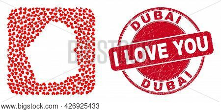 Vector Mosaic Dubai Emirate Map Of Love Heart Items And Grunge Love Stamp. Collage Geographic Dubai