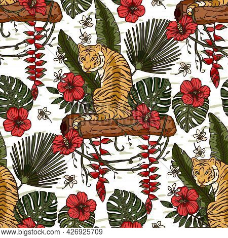 Jungle Tiger Exotic Tropical Seamless Pattern With Vine And Hibiscus Flower. Animal Floral Nature Fa
