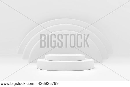 White Product Stand On White Background. Abstract Minimal Geometry Concept. Studio Podium Platform T