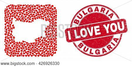 Vector Collage Bulgaria Map Of Valentine Heart Elements And Grunge Love Stamp. Collage Geographic Bu