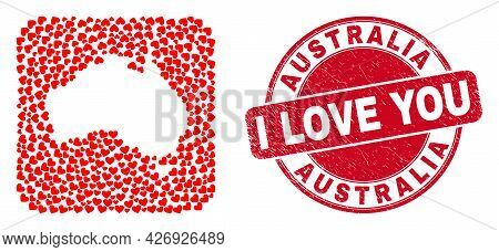 Vector Mosaic Australia Map Of Valentine Heart Elements And Grunge Love Seal Stamp. Mosaic Geographi