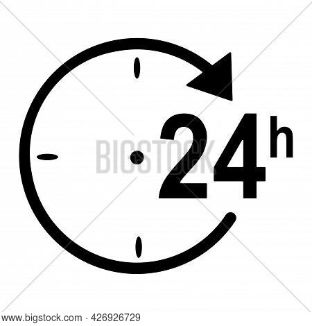 Sign Open Around The Clock Or 24 Hours A Day. 24/7 Order Fulfillment Or Delivery Service Icons.  Ill