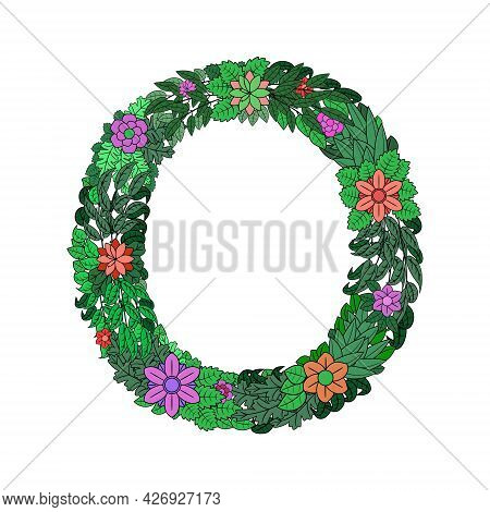 The Letter O - Bright Element Of The Colorful Floral Alphabet On A White Background. Made From Flowe