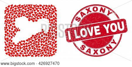 Vector Mosaic Saxony Land Map Of Love Heart Elements And Grunge Love Stamp. Mosaic Geographic Saxony