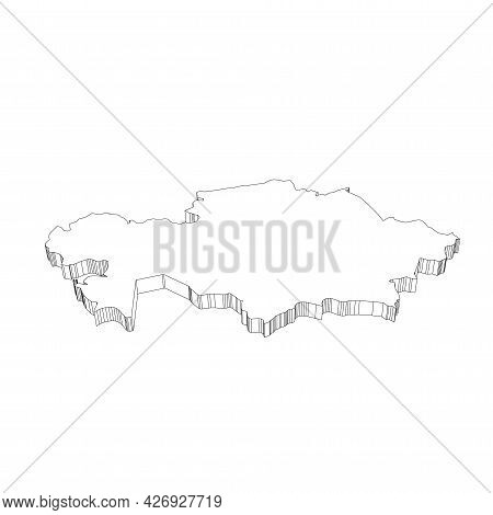 Kazakhstan - 3d Black Thin Outline Silhouette Map Of Country Area. Simple Flat Vector Illustration.