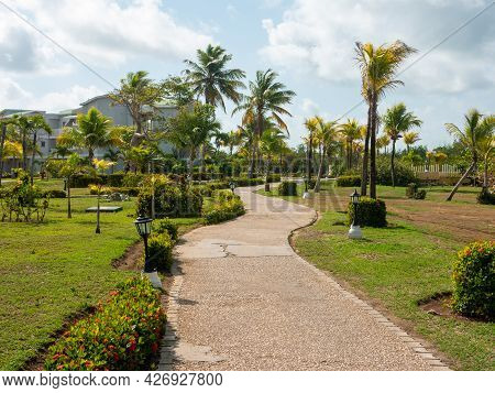 The Territory Of The Hotel Tryp Cayo Coco In Cuba. The Sidewalk Leads To The Hotel Buildings Near Th