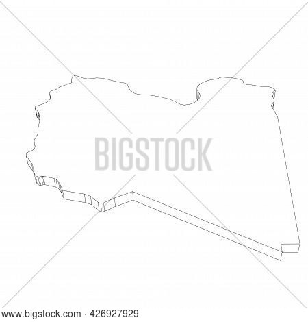 Libya - 3d Black Thin Outline Silhouette Map Of Country Area. Simple Flat Vector Illustration.
