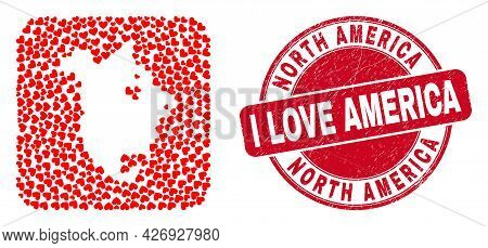 Vector Collage North America V2 Map Of Valentine Heart Items And Grunge Love Badge. Mosaic Geographi