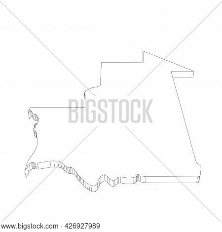 Mauritania - 3d Black Thin Outline Silhouette Map Of Country Area. Simple Flat Vector Illustration.