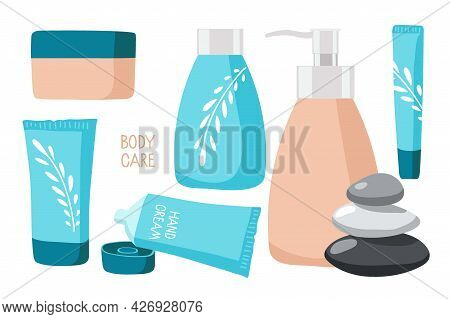 Body Care Cosmetics. Beauty Set. Spa And Natural Cosmetic Elements. Cartoon Vector Illustration. Cre