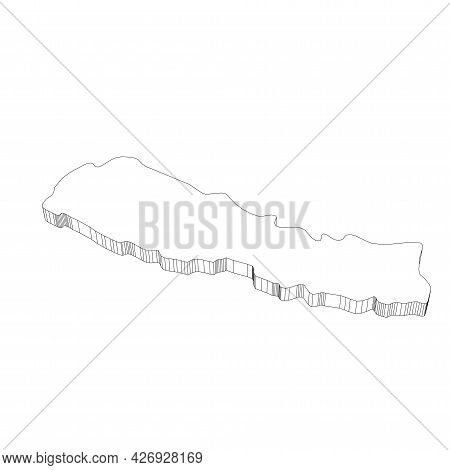 Nepal - 3d Black Thin Outline Silhouette Map Of Country Area. Simple Flat Vector Illustration.