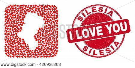Vector Collage Silesian Voivodeship Map Of Lovely Heart Items And Grunge Love Seal Stamp. Mosaic Geo