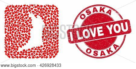 Vector Mosaic Osaka Prefecture Map Of Love Heart Items And Grunge Love Seal Stamp. Mosaic Geographic
