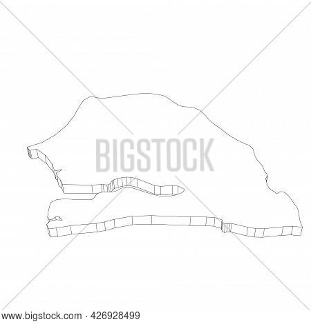 Senegal - 3d Black Thin Outline Silhouette Map Of Country Area. Simple Flat Vector Illustration.