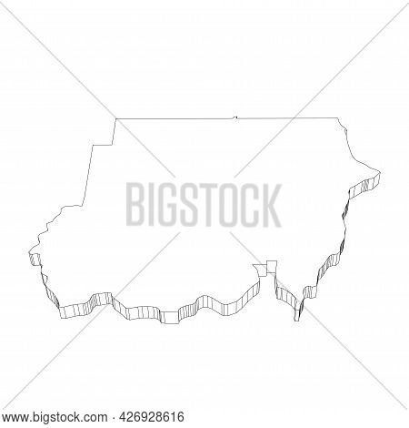 Sudan - 3d Black Thin Outline Silhouette Map Of Country Area. Simple Flat Vector Illustration.