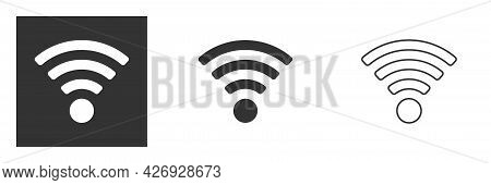 Wireless And Wifi Icon. Wi-fi Signal Symbol. Internet Connection. Remote Internet Access Collection