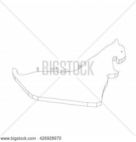 United Arab Emirates, Uae - 3d Black Thin Outline Silhouette Map Of Country Area. Simple Flat Vector