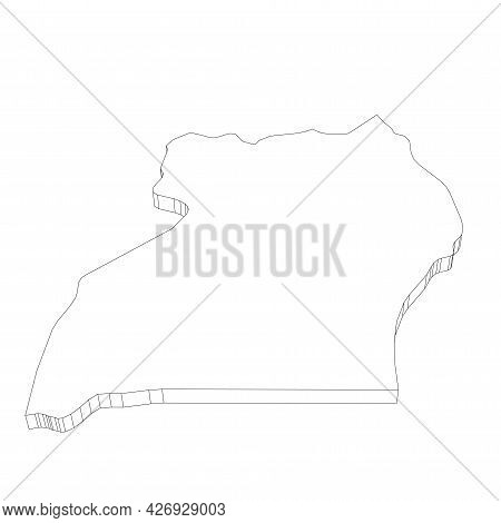 Uganda - 3d Black Thin Outline Silhouette Map Of Country Area. Simple Flat Vector Illustration.