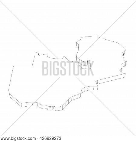 Zambia - 3d Black Thin Outline Silhouette Map Of Country Area. Simple Flat Vector Illustration.