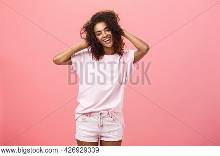 Girl Enjoying Nice Weather Chilling Making Photos For Social Network Touching Curly Hair Gently And