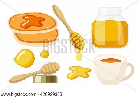 Tea Party With Honey And Pancakes. Honey In Jar, Cup Of Tea, Pancakes, Wooden Honey Spoon With Honey