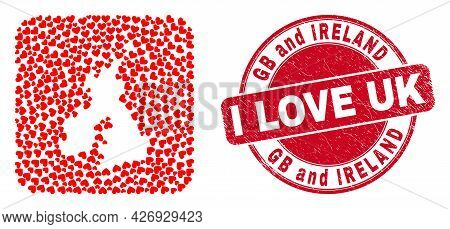 Vector Collage Great Britain And Ireland Map Of Love Heart Elements And Grunge Love Badge. Collage G