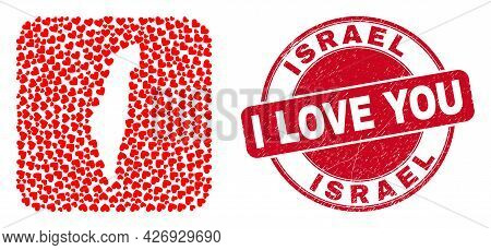 Vector Mosaic Israel Map Of Valentine Heart Elements And Grunge Love Seal Stamp. Mosaic Geographic I