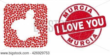 Vector Mosaic Murcia Province Map Of Love Heart Elements And Grunge Love Stamp. Mosaic Geographic Mu