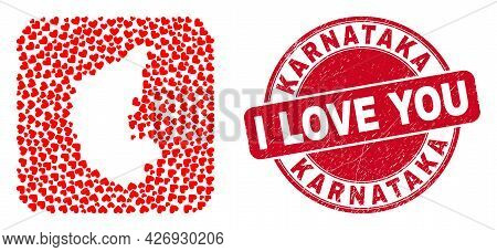 Vector Mosaic Karnataka State Map Of Love Heart Items And Grunge Love Seal. Mosaic Geographic Karnat