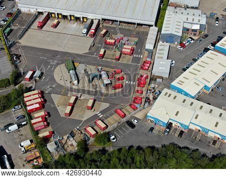An Aerial View Of A Royal Mail Sorting Depot