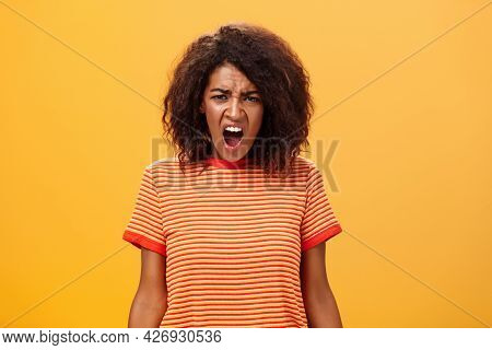 Not Fair You Broke Promise. Portrait Of Offended Displeased Moody African American Girlfriend With C