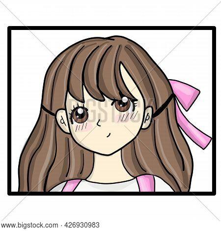 Japanese Manga Face T-shirt Japan Vector Print. Anime Poster. Manga Girl Closeup Face Japanese Or Ko