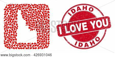 Vector Collage Idaho State Map Of Valentine Heart Items And Grunge Love Seal Stamp. Collage Geograph