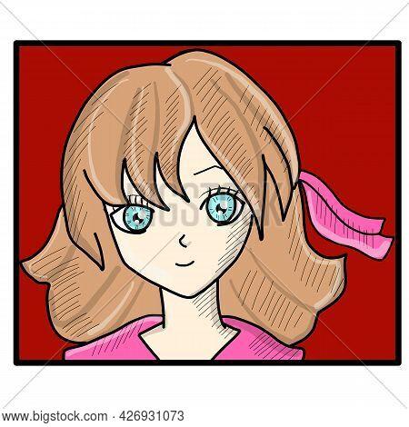 Anime Poster. Manga Girl Closeup Face Japanese Or Korean Retro Character Style. Asian Teen T-shirt D
