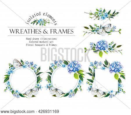 Blue Floral Round Frame. Hydrangea Wreath, Bouquets