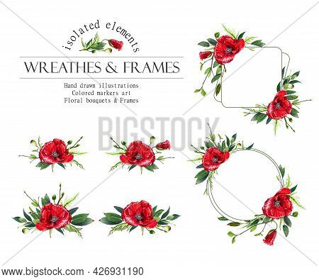 Red Floral Round Frame. Poppy Wreath, Bouquets