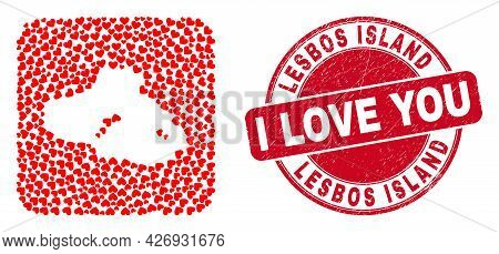 Vector Mosaic Lesbos Island Map Of Love Heart Items And Grunge Love Seal. Collage Geographic Lesbos