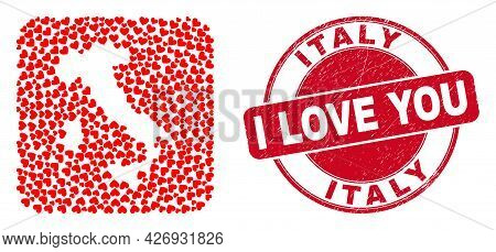 Vector Mosaic Italy Map Of Valentine Heart Elements And Grunge Love Seal. Collage Geographic Italy M