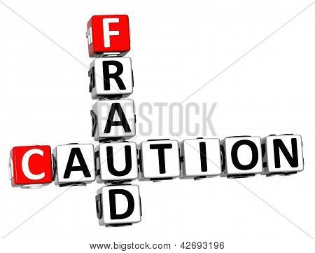 3D Caution Fraud Crossword On White Background