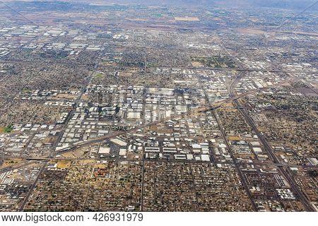 Aerial View Of A Midtown Neighborhood In Skyline Phoenix, Arizona Us
