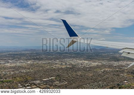Aerial View Of Mountain From Scottsdale, Near Phoenix Arizona Looking Up In Us