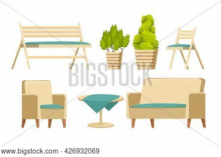 Backyard Furniture Set, Comfortable Armchair, Sofa, Wooden Bench, Table With Tablecloth And Plants I