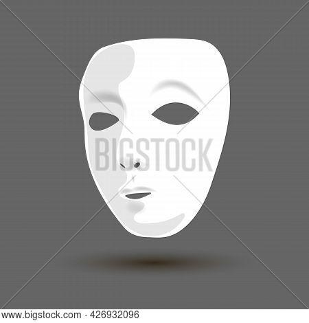 Theater Masks. White Theater Mask. Vector Illustration. Vector Art.