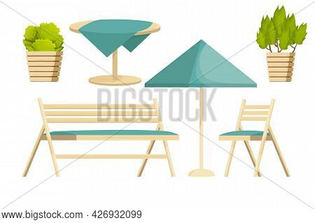Backyard Furniture Set Chair, Wooden Bench, Table With Tablecloth And Plants In Cartoon Style Isolat
