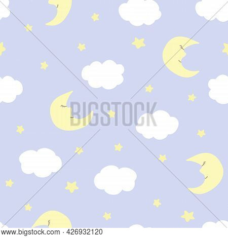 Vector Seamless Pattern With Crescent, Stars, And Clouds On Blue Backdrop. For  Fabric, Textile And