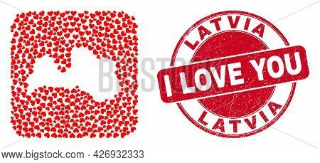 Vector Mosaic Latvia Map Of Lovely Heart Elements And Grunge Love Seal. Mosaic Geographic Latvia Map