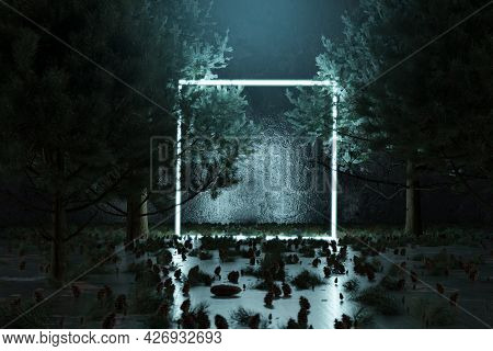 3d Rendering Of Blue Lighten Square Shape With Light Beam Surrounded By Pine Trees
