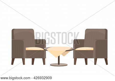 Wooden Round Table With Tablecloth And Two Armchairs Textured In Cartoon Style Isolated On White Bac