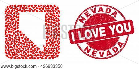 Vector Mosaic Nevada State Map Of Lovely Heart Elements And Grunge Love Badge. Mosaic Geographic Nev